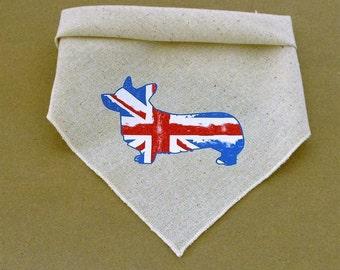 Corgi Dog Bandana, Corgi Silhouette in British Union Jack Pattern