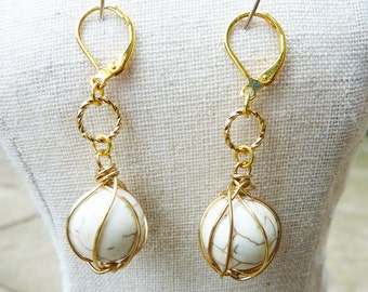 Gold Wire Wrapped White Turquoise Earrings