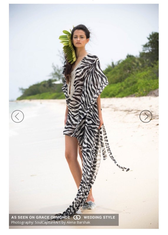 Irina Shabayeva Zebra print caftan gown