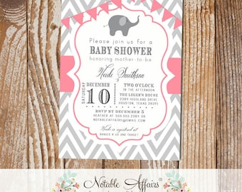 Gray and Pink Chevron with Elephant Baby Shower Invitation with bunting - choose your colors - baby elephant
