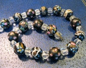 vintage murano venetian glass choker necklace black with flowers and copper swirls 15 inches