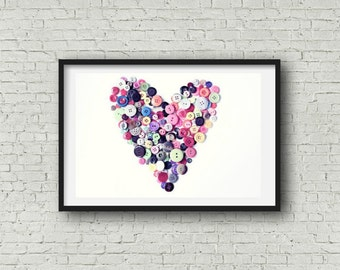 Button Heart Photography Fine Art Print Button Decor Gift for Seamstress Sewing