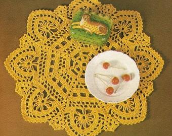 Vintage 80s Gold Doily Crochet Pattern - PDF Instant Download