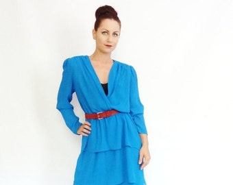 50% OFF LIQUIDATION SALE vintage triple layered blue structured 80's chiffon high fashion dress
