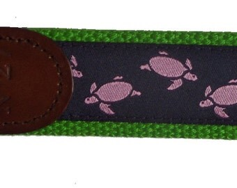 Sea Turtles Key Fob/ Preppy Key Chain/Party Theme Key Fob/Pink, Navy and Green/Leather Key Chain/Key Ring