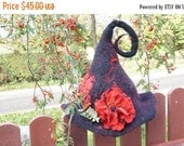 CIJ SALE Halloween Witch hat black red felted with felt wool flower rose orange brooch sauna cap tribal Valentine New year Christmas carniva