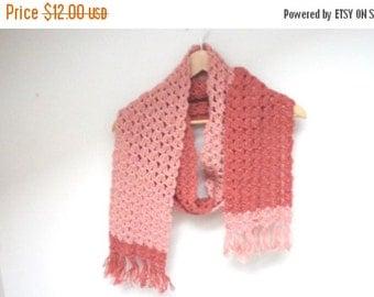 HALLOWEEN SALE Chunky Scarf knit knitted crochet Shawl dusty pink extra long ooak neckwarmer handmade wool pale rose fringed