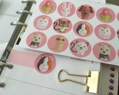 Planner stickers - Cute animals with pink background