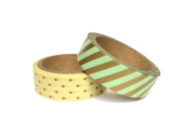 Set of 2 Washi Tapes Mint / Gold / Stripes / Dots