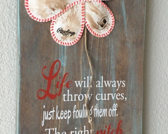 Life Will Always Throw Curves, Wedding Gift, Baseball/Softball Sign Decor, Inspirational Quote, Baseball Softball Flower Yellow Softball