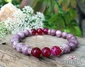 Increase Happiness, Lepidolite & Pink Banded Agate Gemstone Mala Bracelet, Healing Reiki Energy, Yoga Jewelry