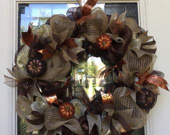 Fall Autmn Thanksgiving holiday mesh wreath