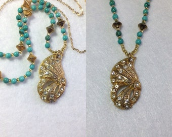 """Art Deco Long Gold Chain Repurposed Rhinestone Dress Clip Necklace Turquoise Beads Yellow Gold 28"""" WING Delicate Layering Boho WishAnWear"""