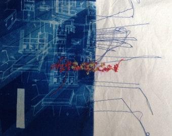 Half kitchen left original cyanotype and thread art