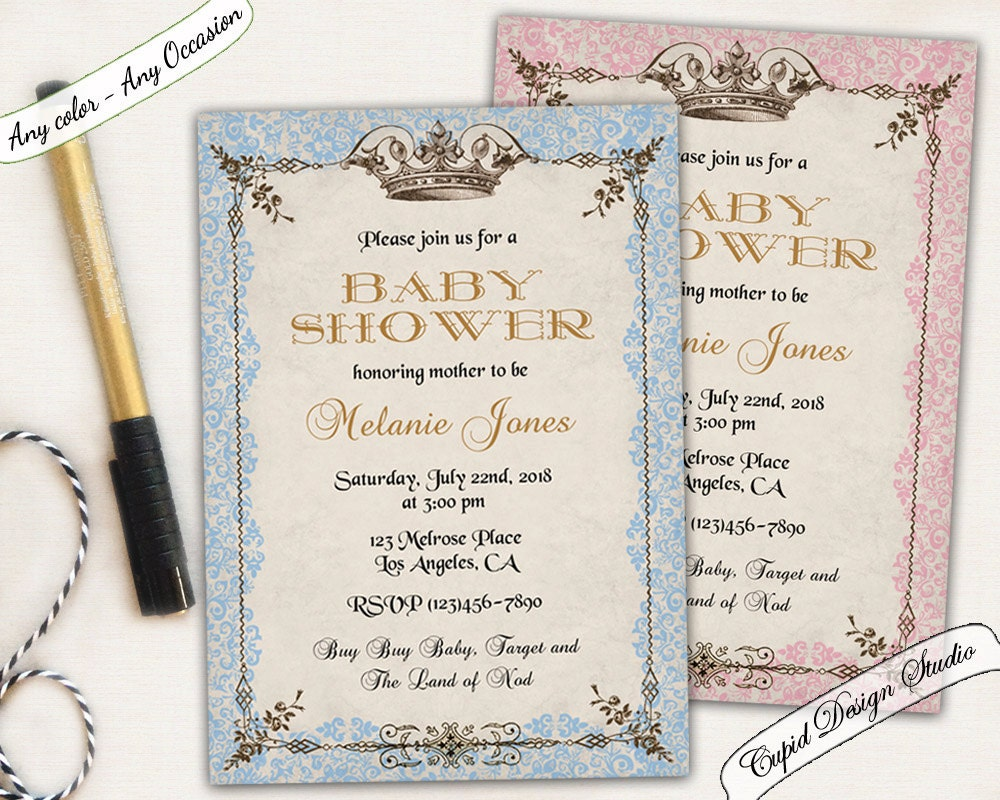 royal baby shower invitation prince or princess baby shower