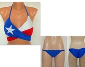 PADDED..Texas flag wrap around top and matching fully lined scruch butt cheeky bottoms-Brazilian-Swimwear-Swimsuit-Bathing suit-XS-S-M-L-XL