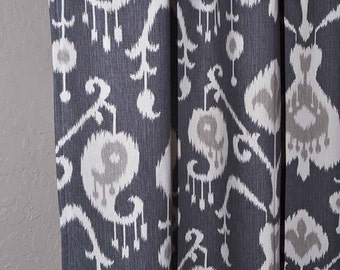 "Charcoal Grey Ikat Grommet Curtains - FREE SHIPPING - Choose Your Length - 50"" or 25"" Wide x 50, 60, 72, 84, 90, 96, 108 or 120"" Long"