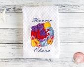 Ohana Hawaiian Tea Towel - Custom Family Name Embroidered Guest Towel - Hawaii Dish Towel