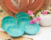 Texas Ware Dessert Bowls, Small Turquoise Bowls, Set of 7 Melmac Bowls, Vintage Kitchen, Mid Century Modern, Retro Aqua Dishes,