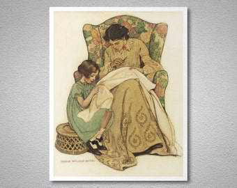 The Sewing Lesson by Jessie Willcox Smith  - Poster Paper, Sticker or Canvas Print