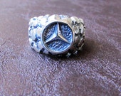 Silver Mercedes Benz Ring, Sterling Silver Ring, Solid Silver Ring, 925 Silver Ring