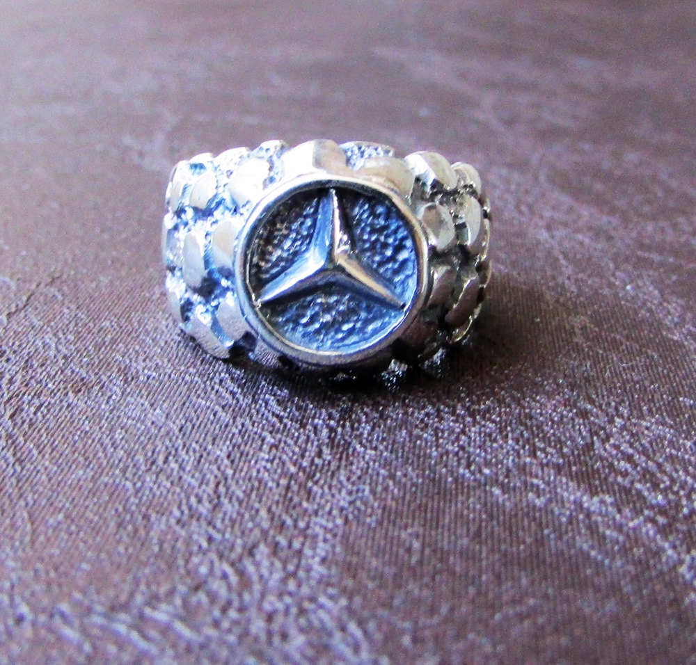 Silver mercedes benz ring sterling silver ring solid silver for Mercedes benz ring