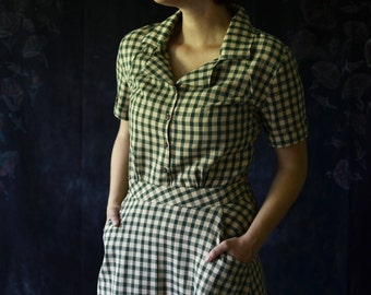 1930's Dress / Vintage Dress / Retro Dress / New Vintage Dress / Handmade Vintage Dress / Shirt Dress / Gingham Dress / Depression Era Dress