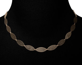 Grid Style Necklace | Brass & 24 Carat goldplated