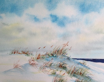 when clouds speak ~ hand painted original watercolor seascape