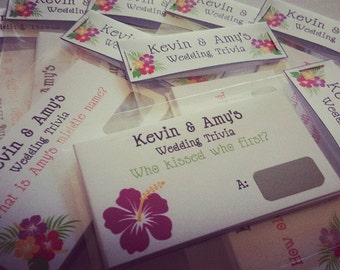 Personalised- Wedding- Scratch Card- Trivia Cards- Wedding Favour- Table Games- Conversation Starters- Special Offer- Medusa Bijoux
