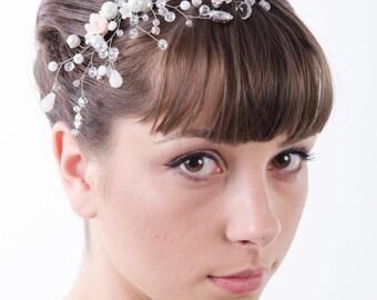 Rhinestones Crystal Bridal Comb, Bridal White Silver Floral hair comb, Wedding hair accessories, Bridal Headpieces, crystal comb bridal