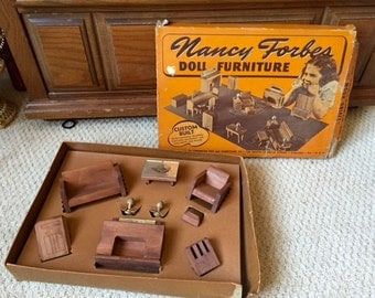 Nancy Forbes Doll Furniture, Complete Living Room Set with box, 1940's