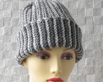 Men's Slouchy Beanie, Men's Knitted Hat, Mens Slouchy Beanie, Slouchy Hat, Hand Knit Hat for Men Grey