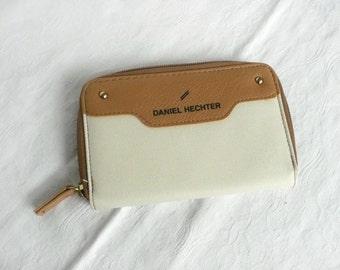Daniel Hechter wallet -  vintage designer wallet - leather and canvas wallet - cream and tan wallet - vintage designer purse