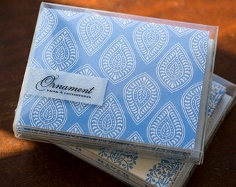Periwinkle Paisley Letterpress Card Set