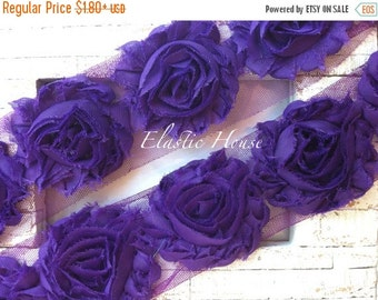 "July Sale 12% OFF 2.5"" Shabby Rose Trim- Purple Color- DIY Headband/Hair Bow/Hair Clips Supplies"