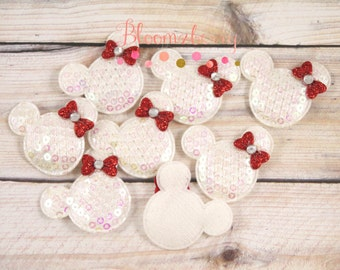 """1.5"""" Sequin Micky Mouse with Bows Padded - White w/Red Bow - Micky Mouse Appliques - Christmas/Birthday-Hair Bow/Hair Accessories Supplies"""