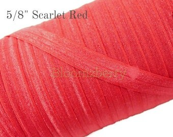 5/8 Fold Over Elastic - Scarlet Red Color - Red Fold Over Elastic - Fold Over Elastic - Red Elastic - Hair Accessories  Supplies