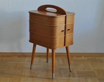 Rare Mid Century Sewing Box with Legs. Danish Modern.  Teak finish. Wood. Panton Eames Era. Side Table. 1950s. 1960s. 1223
