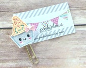 Peach/Gold/Ice Cream Cup/Sparkle Applique Paper Clip/Planner Clip/Bookmark/Journal Marker