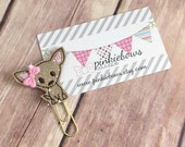 Pink/Gold/Dog/Chihuahua/Sparkle Applique Paper Clip/Planner Clip/Journal Marker/Bookmark