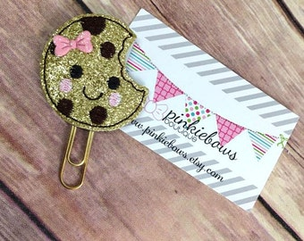 Gold/Chocolate Chip Cookie/Sparkle Applique Paper Clip/Journal Marker/Bookmark/Planner Clip