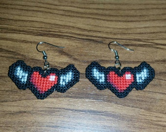 Winged Heart Cross Stitch Earrings