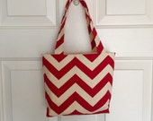 Red and Ivory Chevron Mini Tote Bag / Girls Purse Bag