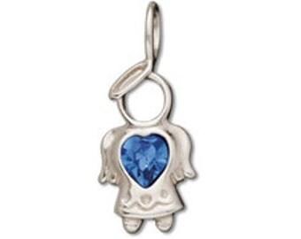 Sterling Silver 11x25mm Birthstone Angel - September - Sapphire Blue Crystal (sku 775 - CHSS-ANG-09)