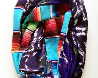 Light Turquoise Traditional Mexican Serape and Purple Retro Feeling Knit Infinity Circle Scarf