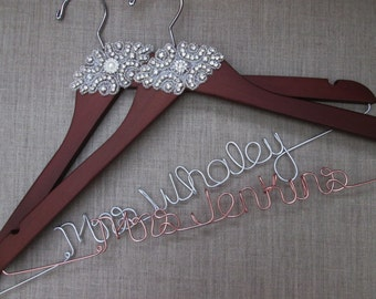 Personalized Bridal Hanger, Vintage Inspired, High Quality, Rhinestone accent, Last Name, Gift for Bride, Free shoe decals