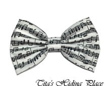 Music Notes Hair Bow, Cotton Fabric Hair Bow, Girls Hair Bow, Handmade Fabric Hair Bow, Big Bow, Kawaii Bows, Baby Bow Clips, Bow Tie Clip