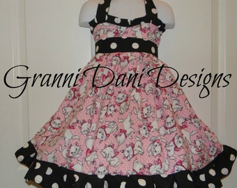 Marie from aristocats disney halter twirl dress ruffle baby toddler girl 6 12 18 24 months 2t 3t 4t 5t 6 7 8 disney black white polka dot