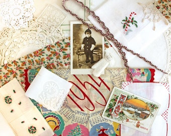 Vintage Supplies*Christmas Inspiration Kit*Doilies Hankies Photo Postcard Trim Ribbon